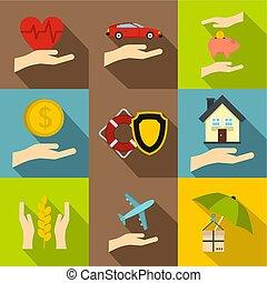Insurance icons set, flat style
