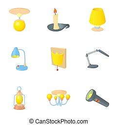 Light for home icons set, cartoon style - Light for home...