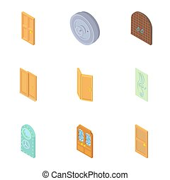 Types of doors icons set, cartoon style - Types of doors...