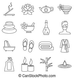 Spa treatments icons set, outline style - Spa treatments...