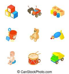 集合, 風格, 玩具, 卡通, 圖象