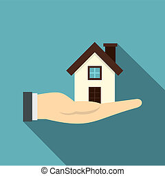 House in hand icon, flat style