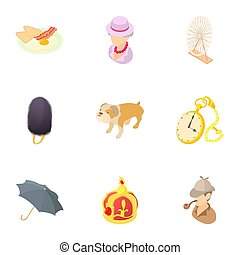 Holiday in England icons set, cartoon style - Holiday in...