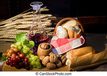 Country food - Display of country food and red wine