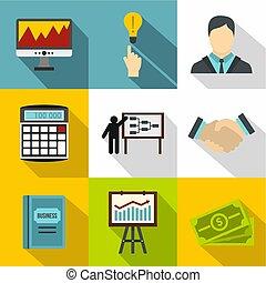 Finance icons set, flat style - Finance icons set. Flat...