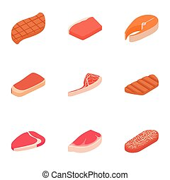Meat icons set, cartoon style - Meat icons set. Cartoon...