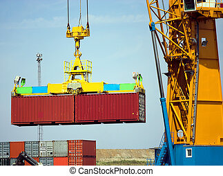 Container grab - Detail of a large crane carrying containers...
