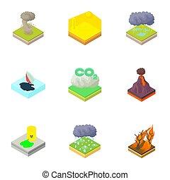 Natural disaster icons set, cartoon style - Natural disaster...