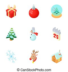 New year holiday icons set, cartoon style - New year holiday...