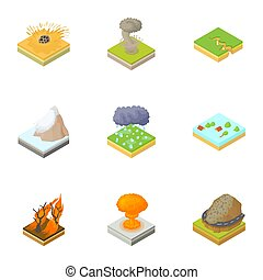Natural occurrence icons set, cartoon style - Natural...
