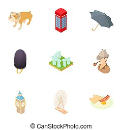 Country England icons set, cartoon style - Country England...