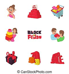 Hot price icons set, cartoon style
