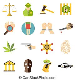Crimonal icons set, cartoon style