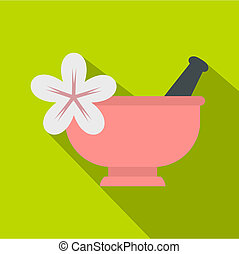 Mortar and pestle icon, flat style - Mortar and pestle icon....