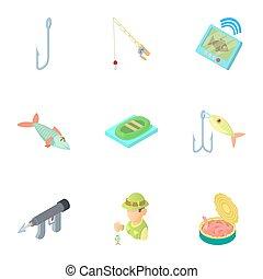Fish icons set, cartoon style - Fish icons set. Cartoon...