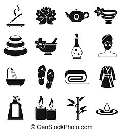 Spa treatments icons set, simple style - Spa treatments...