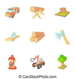 Deforestation icons set, cartoon style - Deforestation icons...