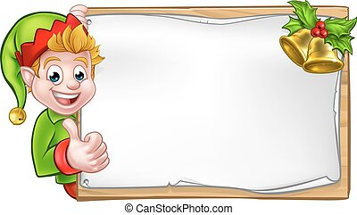 Christmas Sign Santa Helper Elf Thumbs Up - Christmas elf...