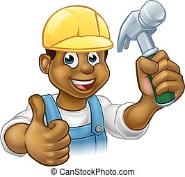 Black Handyman Cartoon Character - A black handyman...