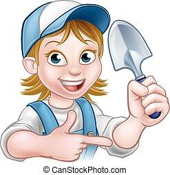 Cartoon Woman Gardener - A cartoon gardener holding a...