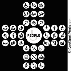White cruciform disability and people Icon collection -...