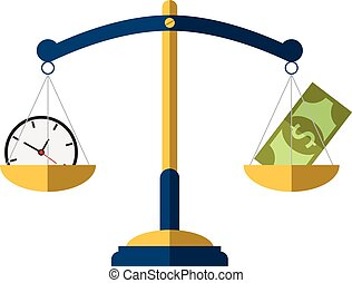 Money and Time balance on the scale. Business Concept