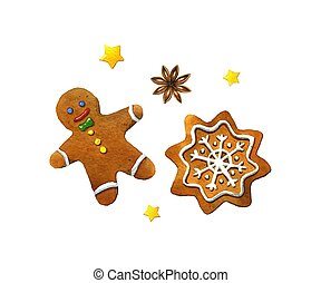 Christmas cookies. Watercolor illustration on a white...