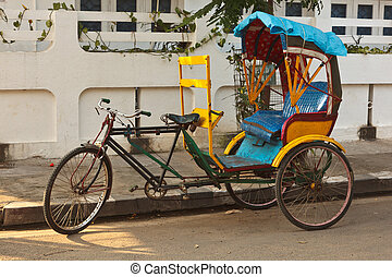 Bicycle rickshaw - Empty bicycle rickshaw in street....