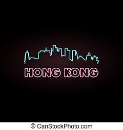 Hong Kong skyline neon