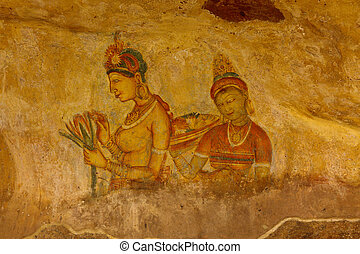 Sigiriya frescoes - Ancient famous wall paintings (frescoes)...