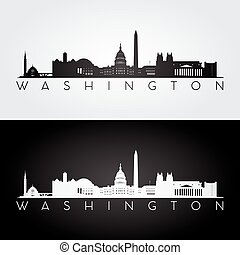 Washington skyline silhouette - Washington USA skyline and...