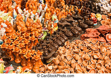 Clay toys and accessories for pooja temple worship...
