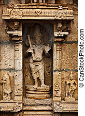 Bas relief in Hindu temple. Sri Ranganathaswamy Temple....