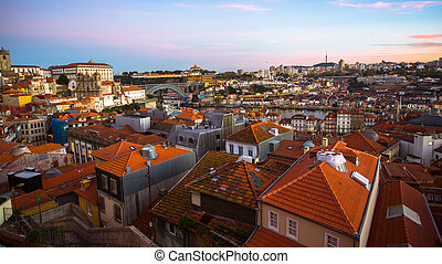 Panoramic view of the old Porto at dusk, Portugal.