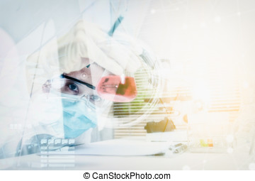 Double exposure of scientist are certain activities on...