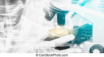Double exposure of scientist taking aliquote of an enzyme in...