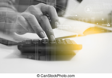 Double exposure of recheck document or planing data for business market target and about accounting staff recheck data before approve document, business concept and copy space, mock up.