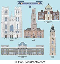 Famous Places in Belgium: Belfry - Brugge, Royal Castle -...