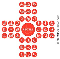 Red disability and people Icon collection - Red cruciform...