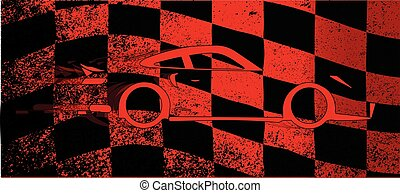 Fast Car Chequered Flag - A dirty red and black grunge fx...
