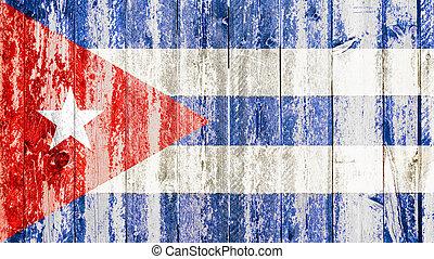 old grunge cuban flag on broken crack wood with rift, havana...