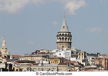 Galata Tower in Istanbul - Galata Tower in Galata District,...
