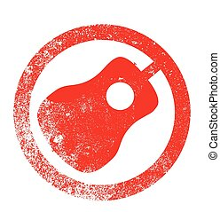 Acoustic Guitar Red Ink Stamp - Acoustic guitar as as rubber...