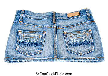 Jeans mini skirt on white background type behind