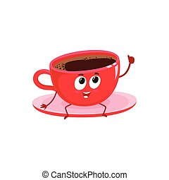 Funny black coffee cup character giving thumb up - Funny...