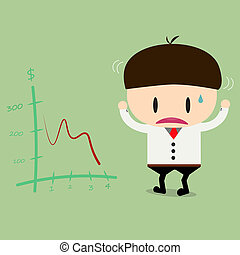 Businessman or manager look negative trend graph fall .flat design