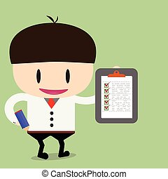 Businessman or manager. Illustration of business plan. A man in a suit shows a business plan