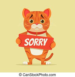 Sorry cat character hold apology plate. Vector flat cartoon...