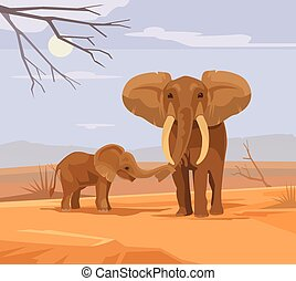 Two elephants characters in Africa. Vector flat cartoon illustration