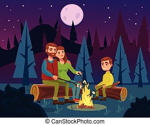 Family picnic by fire at night. Father character tells...